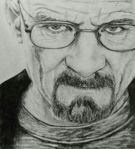 Detailed pencil portrait of Walter White from Breaking Bad (Bryan Cranston), really enjoyed drawing this one as I loved the TV Series a lot.