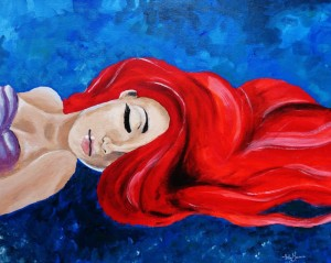 Ariel, The Little Mermaid. Acrylic Painting, took around 10 hours.